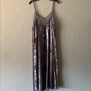 Crushed velvet slip dress